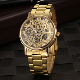 Men's Skeleton Watch Wrist Watch Quartz Stainless Steel Gold Hollow Engraving Analog Charm - Golden