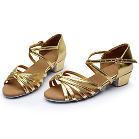 Women's Latin Shoes Sandal Chunky Heel Silk Buckle Ribbon Tie Leopard / Nude / Black and Gold / Suede / Indoor / Ballroom Shoes / Practice / Professional