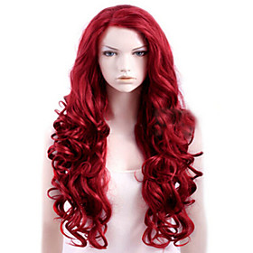 Synthetic Wig Curly Side Part Wig Long Red Synthetic Hair Women's High Quality Red