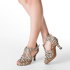 Women's Dance Shoes Latin Shoes / Ballroom Shoes / Salsa Shoes Heel Buckle Customized Heel Customizable Leopard / Satin / Leather / EU40