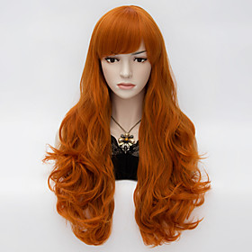 Synthetic Wig Deep Wave Deep Wave With Bangs Wig Long Brown Synthetic Hair Women's Red