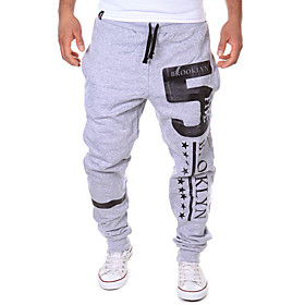 Men's Active / Basic Casual Sports Weekend Loose / Active / Relaxed wfh Sweatpants - Letter Black Dark Gray Light gray L XL XXL