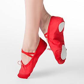 Women's Ballet Shoes Flat Flat Heel Fabric Black / White / Red / Kid's / Leather / EU39