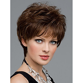 Synthetic Wig Straight Natural Straight Straight Pixie Cut With Bangs Wig Short Brown Black Synthetic Hair Women's Brown StrongBeauty