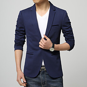 Men's Blazer Regular Solid Colored Daily Work Plus Size Long Sleeve Black / Dark Blue / Light Blue M / L / XL / Business Formal / Slim