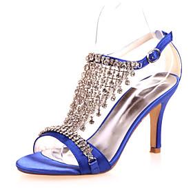 Women's Heels Glitter Crystal Sequined Jeweled Stiletto Heel Satin Comfort Spring / Summer Purple / Red / Blue / Wedding / Party  Evening / EU42
