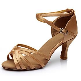 Women's Dance Shoes Latin Shoes / Ballroom Shoes / Line Dance Heel Buckle Customized Heel Customizable Leopard / Nude / Black / Indoor / Silk / EU38