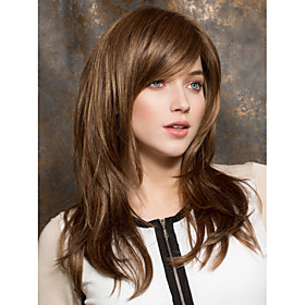 Synthetic Wig Straight Straight Layered Haircut With Bangs Wig Medium Length Brown Synthetic Hair Women's Side Part Brown