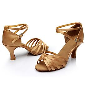 Women's Dance Shoes Latin Shoes / Ballroom Shoes / Salsa Shoes Sandal Sneaker Buckle / Ribbon Tie Customized Heel Customizable Leopard / Nude / Black / Perform