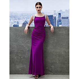 Sheath / Column Minimalist Prom Formal Evening Dress Scoop Neck Sleeveless Ankle Length Chiffon with Ruched 2020