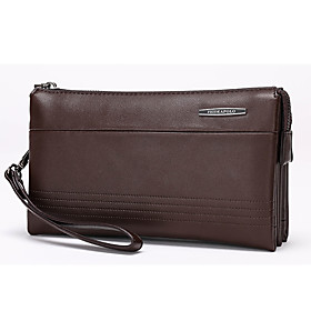 Men's Bags Microfibre Clutch / Wristlet / Wallet Solid Colored for Wedding / Event / Party / Office  Career Black / Brown