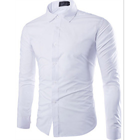 Men's Casual / Daily Shirt Solid Colored Long Sleeve Tops White Black Lavender