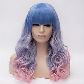 Synthetic Wig Curly Kardashian Curly Asymmetrical Wig Pink Long Rainbow Synthetic Hair Women's Natural Hairline Blue Pink