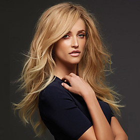 Synthetic Wig Curly Body Wave Body Wave Asymmetrical Wig Blonde Long Blonde Strawberry Blonde Synthetic Hair Women's Natural Fashion Blonde
