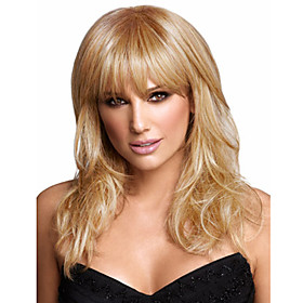 Synthetic Wig Straight Straight With Bangs Wig Blonde Medium Length Blonde Synthetic Hair Women's Blonde