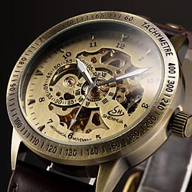 Men's Skeleton Watch Wrist Watch Mechanical Watch Automatic self-winding Luxury Hollow Engraving Analog Black Brown / Leather