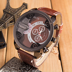 Men's Sport Watch Military Watch Quartz Oversized Leather Black / Orange / Brown Casual Watch Cool Analog Brown Red Blue One Year Battery Life / SSUO 377