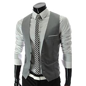 Men's Work Spring / Fall Regular Vest, Solid Colored V Neck Sleeveless Polyester Black / Gray / Wine / Business Formal / Slim