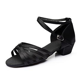 Women's Dance Shoes Latin Shoes / Ballroom Shoes / Line Dance Sandal Heel Sneaker Ribbon Tie Chunky Heel Customizable Leopard / Nude / Black / Indoor / Perform