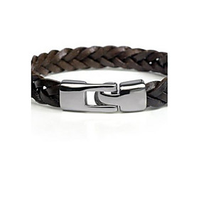 Men's Leather Bracelet Plaited Wrap Classic Party Work Casual Basic Leather Bracelet Jewelry Black / Brown For Gift Daily Casual Sports Valentine