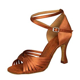 Women's Latin Shoes Sandal Heel Stiletto Heel Satin Buckle Almond / Mahogany / Tan / Indoor / Leather / Practice / Professional