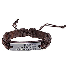 Men's Leather Bracelet Handwriting Bracelet Love Leather Bracelet Jewelry Coffee For Party Daily Casual / Silver Plated