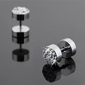 Men's Stud Earrings flat back Ladies Rhinestone Titanium Steel Earrings Jewelry White / Black For Wedding Party Daily