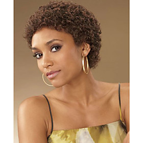 Synthetic Wig Kinky Curly Kinky Curly Wig Short Brown Synthetic Hair Women's African American Wig Glueless Brown