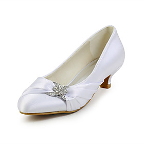 Women's Wedding Shoes Kitten Heel Round Toe Classic Wedding Dress Party  Evening Crystal Solid Colored Silk Walking Shoes Summer White / Black / Red / EU41