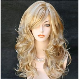 Synthetic Wig Curly Curly Wig Blonde Long Blonde Synthetic Hair Women's Blonde