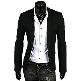 Men's Work Regular Blazer, Solid Colored Long Sleeve Polyester Navy Blue / Green / Light Blue / Business Casual / Slim