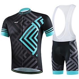 Men's Women's Short Sleeve Cycling Jersey with Bib Shorts - Black Stripes Plus Size Bike Shorts Bib Shorts Pants / Trousers Breathable 3D Pad Quick Dry Back Po