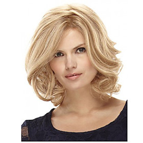 Synthetic Wig Curly Curly Bob With Bangs Wig Blonde Medium Length Blonde Synthetic Hair Women's Side Part Blonde