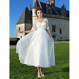 A-Line Wedding Dresses V Neck Ankle Length Organza Sheer Lace Half Sleeve Country Casual Vintage See-Through Illusion Sleeve with Bowknot Lace Sash / Ribbon 20
