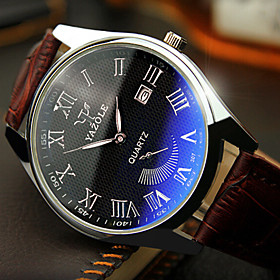 Men's Wrist Watch Quartz Leather Black / Brown 30 m Water Resistant / Waterproof Luminous Day Date Analog Charm Classic Aristo - Black Brown One Year Battery L