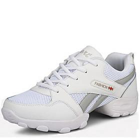 Men's Dance Shoes Dance Sneakers / Practice Trainning Dance Shoes Sneaker Lace-up Low Heel Non Customizable Black / White / EU43