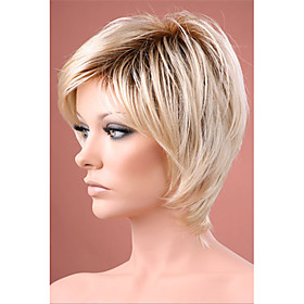 Synthetic Wig Straight Straight Bob With Bangs Wig Ombre Short R10-26 Synthetic Hair Women's Ombre Hair Dark Roots Natural Hairline Ombre StrongBeauty