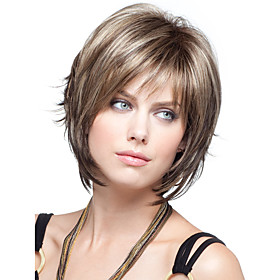 Synthetic Wig Straight Straight Wig Short Brown Synthetic Hair Women's Brown