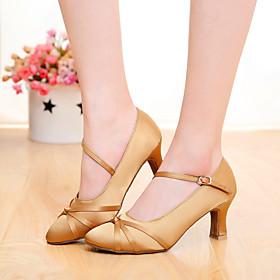 Women's Modern Shoes Heel Customized Heel Silk Buckle Ribbon Tie Black / Brown / Orange / Indoor / EU39