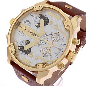 Men's Sport Watch Military Watch Wrist Watch Quartz Oversized Classic Calendar / date / day Analog Black / Silver White / Brown Black / One Year / Stainless St