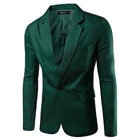 Men's Work Basic Spring / Fall Blazer, Solid Colored Notch Lapel Long Sleeve Cotton / Polyester Green / Blue / Khaki / Business Casual