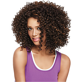 Synthetic Wig Curly Curly Wig Medium Length Light Brown Synthetic Hair Women's African American Wig Brown StrongBeauty