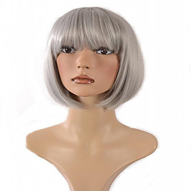 Synthetic Wig Curly Curly Wig Short Grey Synthetic Hair Women's Gray