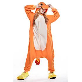 Adulto Pijamas Kigurumi Dragón Animal Pijamas de una pieza Lana Polar Naranja Cosplay por Hombre y mujer Ropa de Noche de los Animales Dibu