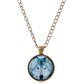 Men's Women's Pendant Necklace Animal Wolf Simple Style Gemstone Glass Alloy Silver Bronze Necklace Jewelry For Party Daily Casual