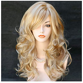 Synthetic Wig Body Wave Wavy With Bangs Wig Blonde Long Blonde Synthetic Hair 24 inch Women's Side Part Blonde