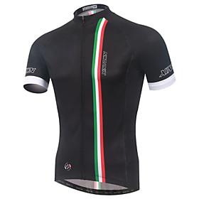 XINTOWN Men's Short Sleeve Elastane Lycra Black Bike Jersey Breathable Quick Dry Ultraviolet Resistant Sports Clothing Apparel / High Elast