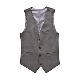Men's V Neck Vest Regular Solid Colored Formal Sleeveless Wine / Black / Gray M / L / XL / Business Formal / Slim