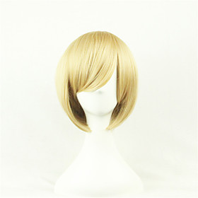Cosplay Costume Wig Synthetic Wig Cosplay Wig Straight Straight Asymmetrical Wig Blonde Short Blonde Synthetic Hair Women's Natural Hairline Blonde