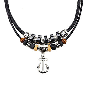 Men's Women's Agate Pendant Necklace Braided Vintage Fashion Agate Leather Resin Silver Necklace Jewelry For Party Daily Casual Sports Cosplay Costumes